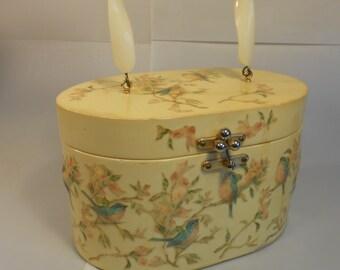 Summer Holidays in Kent  - Vintage 1950s Annie Laurie Originals Dickie Birds Decoupage Wooden Box Handbag