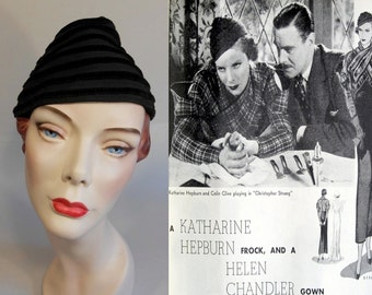 A Bill of Divorcement - Vintage 1933 Dobbs Black Striped Toque Peaked Calot Hat