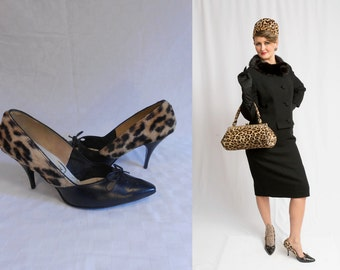 The Seductress Mrs. Robinson - Vintage 1950s Leopard Faux Fur Pixie Stiletto High Heels - 9