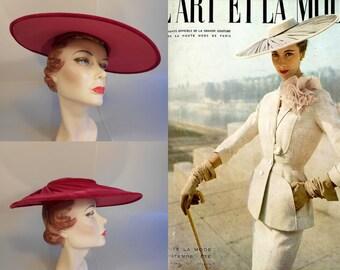 Qu'est que c'est  - Early 1950 Hot Pink Cerise Velvet Cartwheel Platter Wide Brim Hat w/Rhinestone Button