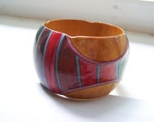 Wide Hand Painted Carved Exotic Wood Ethnic Native Bangle Bracelet