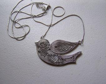 CLEARANCE Unusual Filigree Silver Bird Necklace