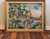 Mid Century Framed Needlepoint, Large Framed Art, Vintage Needlepoint Art, Mad Men Era Home, Scenery