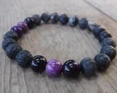 Essential Oil Diffusing Stretch Bracelet - Natural Stone Beads -  Purple Glass Beads - Lava Bead Bracelet - Stackable Bracelet
