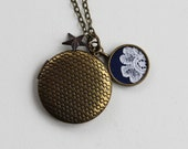 Brass Locket Necklace, Vintage Lace Jewelry, Navy Blue and Gold Necklace, Boho, Unique, Flower Star Charm Necklace, Chevron Locket for Women