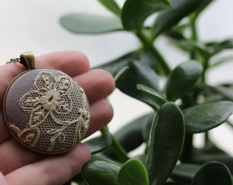 Antique Lace Pendant, Beige, Fall Boho Wedding, Gray Bridesmaid Necklace, Gift, Unique Jewelry for Women