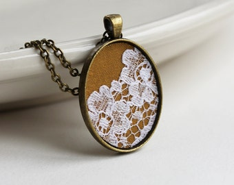 Mustard Yellow Necklace, Lace Pendant, Women Yellow Lace Jewelry Accessories Fabric Lace Necklace, Mustard Wedding, Yellow Bridesmaid Gift