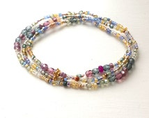 Watercolors Long Seed Bead Stretch 3 Wrap  Bracelet with Faceted Glass and Metallics
