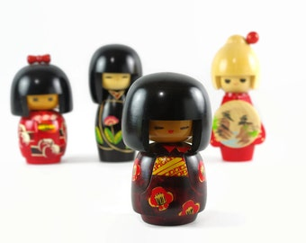 Vintage Kokeshi Doll, Wooden Japanese Doll, Folk Art, Creative Kokeshi, Wood Doll from Japan