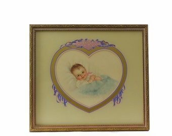 Vintage Baby Print, Charlotte Becker, Framed Art Print, Take Me in Your Arms, Nursery Decor