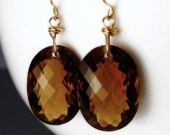 18k Gold Smoky Quartz Earrings