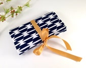 Navy and White Jewelry Pouch. Travel Jewelry Roll. Navy Blue Bridesmaid Gift. Something Blue and Gold. Tribal Fabric. Personalized Gift Her