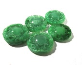 Green Moonglow Glass Shankless Buttons West Germany VINTAGE Green Swirl Buttons Five (5) Vintage Buttons Jewelry Sewing Supplies (M78)