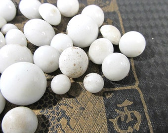 White Glass Dress Shoe Boot Buttons VINTAGE Buttons Fifty Five (55) White Glass Antique Fashion Jewelry Doll Supplies Vintage Buttons (J94)