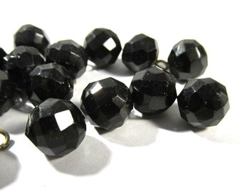 Victorian Black Glass Buttons Ball Buttons Faceted VINTAGE Buttons Fifteen (15) Antique Victorian Matching Jewelry Supplies (J124)