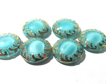 Light Blue Aqua Moonglow Glass Shankless Buttons West Germany VINTAGE Luster Buttons Six (6) Vintage Buttons Jewelry Sewing Supplies (F195)