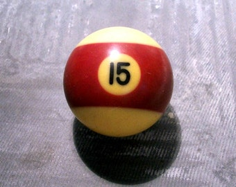 Billiard Ball Number 15 VINTAGE Pool Ball Bakelite Lucky Number 15 Man Cave Decor Vintage Bakelite Billiard Ball Vintage Game Supplies (T1)