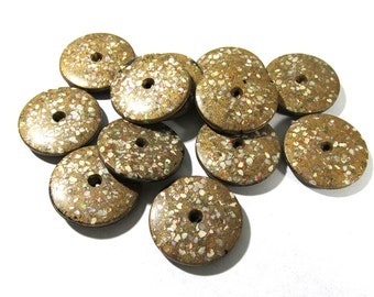 Composition Whistle Buttons VINTAGE Shell Confetti Mother of Pearl Twelve (12) Matching Buttons Vintage Reenactment Jewelry Supplies (T102)