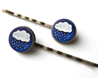 Rain Cloud Bobby Pins or Snap Hair Clips, Navy Blue and White Rainy Day