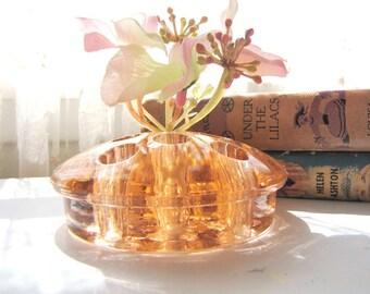Vintage Cambridge Glass Flower Frog Pink Peach Flower Arranging Floral Arrangement 1940s from AllieEtCie