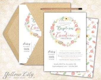 Baby Girl Baptism Invitation- Girls / DIY / Printable / Bridal Shower / Baby Shower / Flower Wreath / Floral / Pastels
