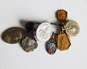 vintage medals 7 small religious pendant/ medals