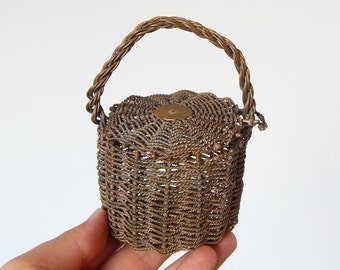metal woven basket vintage french small basket