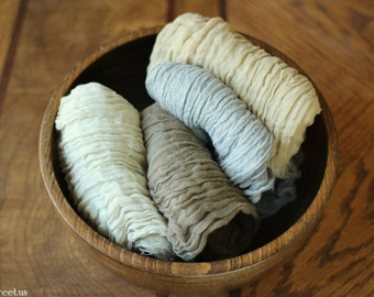 Four Cheesecloth Wraps, Neutral Colors, Taupe, Cream, Gray, Tan Cheese Cloth, Cocoon Wrap, Gauze Wraps Natural Props, Newborn Photo Prop