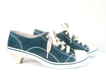 Denim Heeled Platform Sneakers Chinese Laundry Wash Size 6.5