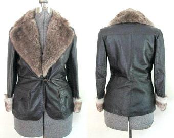 Fur Trimmed Brown Leather Jacket // Mod Boho Vintage 1970s