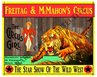 """Printed Antique Circus Show Poster Home Decor Print, 8"""" x 10"""", Vintage Style Print, Carnival Print Wall Art, Wild Bengal Tiger Show Poster"""