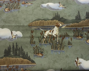 Fabric by the yard, 5 yards Moda Northern Flight by Holly Taylor, green background, cabin, mountain, lodge, deer, one yard, 54 inches wide
