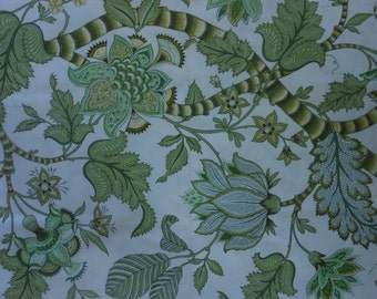 Handmade cotton print tablecloth greens tropical floral on off white background 58 inches square