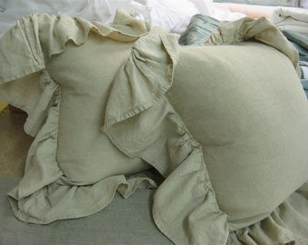 "READY TO SHIP----One Pair of Floppy Ruffle Pillow Shams-Sand Washed Linen-5"" Ruffled Pillow Shams-with or without feather/down inserts"