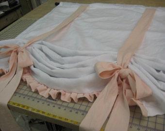 Custom Tie Up Functional Window Shade with Ruffled Hem--Relaxed Rod Pocket Style Window Shade with Velvet Ribbon Trim