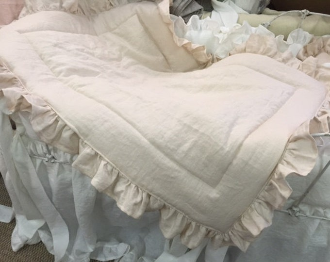 Featured listing image: Vintage White and Heirloom Pink Washed Linen Nursery-Ruffled Crib Linens-Made to Order Custom Nursery Bedding