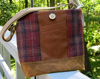 Camel and russet brown tote bag, russet shoulder bag, wool messenger bag, brown and russet suit coat bag, recycled wool, waxed canvas bag