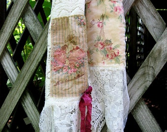 Fringed cotton lace scarf with frayed French script embellishment, vintage lace scarf with tea-stained and pink prints, 15 by 72 inches