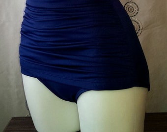 Ruched High Waist Grace Bottoms in navy