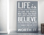 Life Is Too Short - Quote Inspirational Print XL A1 841 x 594 mm - 33.1 x 23.4 in, luxury poster print.