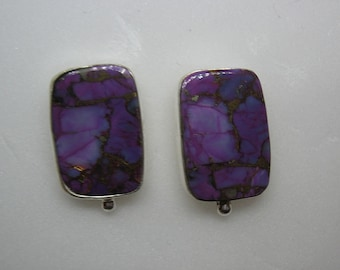 Purple Turquoise Cabochon Post Earrings in Sterling Silver