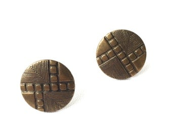Old Hollywood Geometric Brass Studs.FAST Shipping with Tracking for US Buyers. Will Arrive in Gift Box tied w/ Ribbon.Ready for Gift Giving.