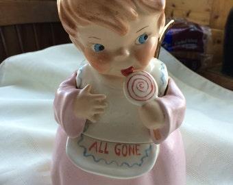 Vintage Ceramic Lollipop Angel Jar with Lid Grandma's Treats