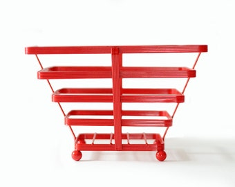 Red Wire Basket | Vintage | Metal | Storage | Square