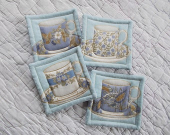 Blue TeaCup Quilted Coasters (Set of 4)