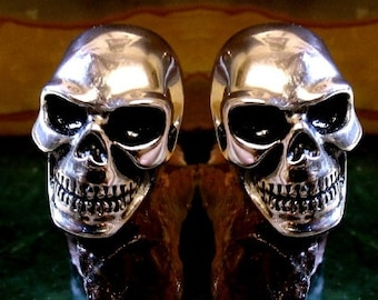 Large  Skull Cufflinks Sterling Silver Free Domestic Shipping