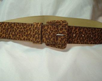Genuine Bonded Leather Leopard Print Vintage Belt.