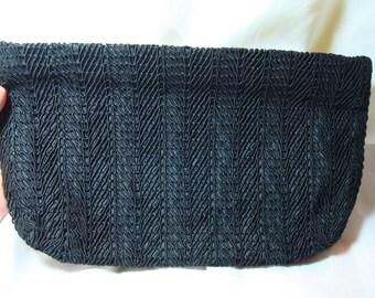 Vintage Black Corded Like Clutch.