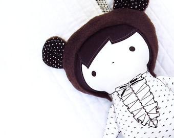 Modern black and white Organic Cotton cloth doll - Scarlett the bear