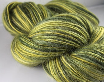 Handspun Yarn Gently Thick and Thin DK Single Wensleydale 6.5 oz. 'New Camo'